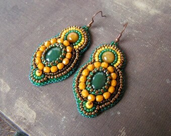 Bead embroidery Earrings Beadwork Earrings Green Yellow Copper Earrings Agate Earrings Bead embroidery jewelry Ethnic Tribal MADE TO ORDER