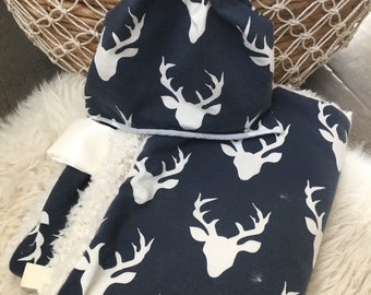 Stag lovey // Minky lovey // Baby blanket // security lovey // Modern lovey // Baby gift // Baby boy set
