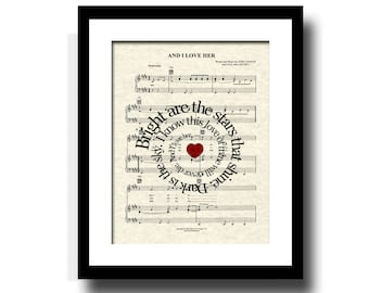 And I Love Her Song Lyric Sheet Music Art Print, Custom Wedding Gift, Custom Anniversary Art, Names and Date Art, First Dance