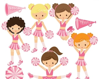 ON SALE INSTANT Download.  Cute cheerleader clip art. Cch_16.  Personal and commercial use.