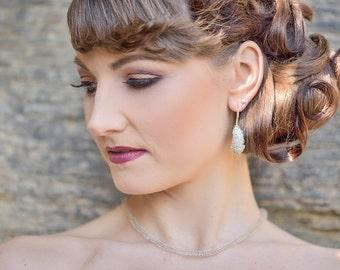 Crochet earrings with long beads