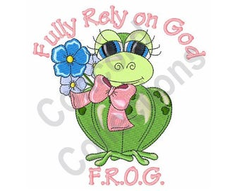 Religious Frog - Machine Embroidery Design, Fully Rely On God - Machine Embroidery Design