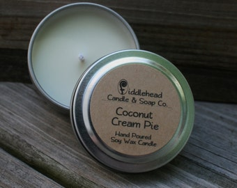 Coconut Cream Pie Soy Candle |2 oz Soy Candle Tin|Hand Poured Soy Candles| Natural Soy Wax| Highly Scented Candle