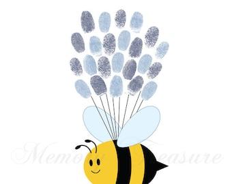 Baby Shower Guest Book Alternative Bee Baby Shower Bee Thumbprint Guestbook Bee Fingerprint Guestbook Bee Baby Shower Thumbprint Bee Shower