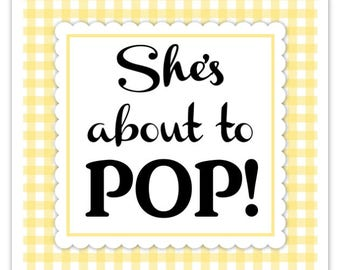 Yellow Gingham Baby Shower Stickers, About to Pop labels, Square (20 count)