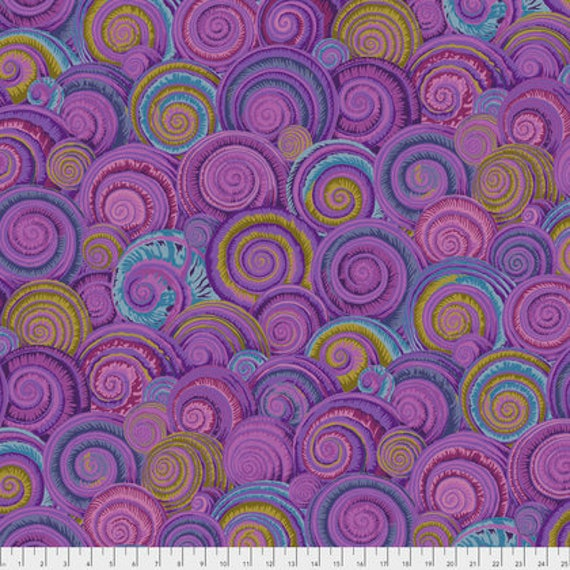 SPIRAL SHELLS LAVENDER Purple PWPJ073 Philip Jacobs Kaffe Fassett Collectives Sold in 1/2 yd increments