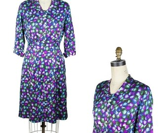 ON SALE 1950s Dress // Purple Green and Blue Circle Dot Bow Neck Dress