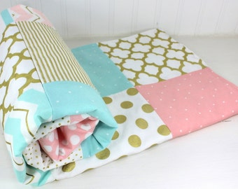 Baby Blanket, Minky Baby Blanket, Baby Bedding, Baby Shower Gift, Nursery Decor, Baby Quilt, Blush Pink Aqua Blue White Gold Baby Girl