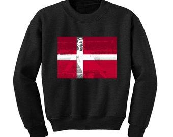 Russia World Cup 2018 Graphic Sweatshirt DENMARK Flag Football Team Soccer