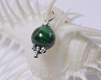 Malachite   Beads 8 mm Wire Wrapped Head Pin Silver wire