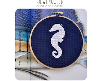 Seahorse Silhouette Cross Stitch Pattern Instant Download
