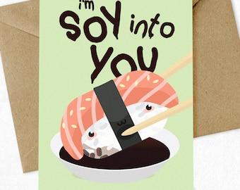 Valentine's Day Card 'Soy Into You' Card, Pun Card, Funny, Valentine Card, Greeting Card, Boyfriend Card, Girlfriend Card