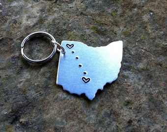 CUSTOM USA Key chain / Long Distance Love Handstamped Keychain