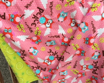 Flannel Baby Blanket / Kid Car Blanket - Peace Owls on Pink and Green Circles on Back, Personalization Available