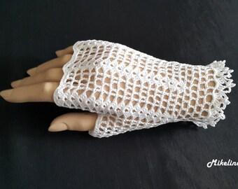Crochet Mittens, Fingerless Gloves,White, 100% Mercerized Cotton.