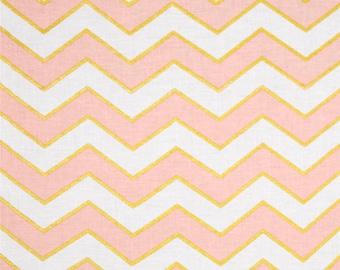ON SALE Crib Sheet - Pink Blush, Gold, White Chic Chevron Confection - Glitz - Michael Miller - 100% Cotton - Ready to Ship