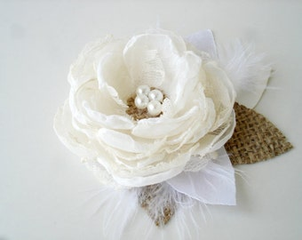 Rustic Bridal Hair Clip, Ivory Wedding Hair Piece Feather Pearl Flower Hair Clip Burlap Wedding Hair Flower Bridal Headpiece Rustic