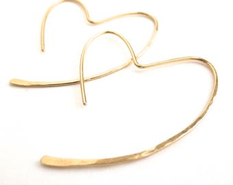 Gold Heart Hoops. 14k gold filled open heart hammered hoop earrings. Gold Heart Earrings