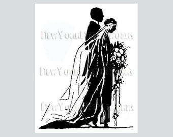 Art Deco Bride and Groom Cross Stitch, Bride and Groom, Wedding Cross Stitch, Cross Stitch, Bride Silhouette from NewYorkNeedleworks on Etsy