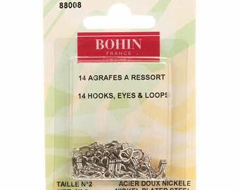 Bohin #2 Hooks, Eyes and Loops Nickel 88008