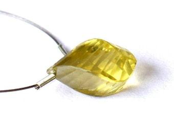 Gorgeous 3 Carat lemon Quartz twisted bead