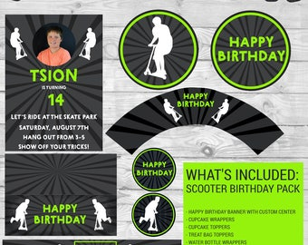 Extreme Scooter Birthday Printables Digital Download