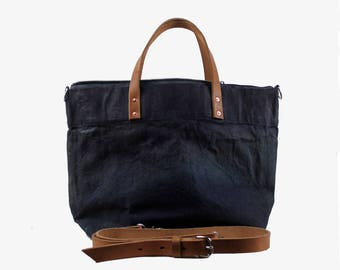 Large Waxed Cotton Canvas Tote Bag w/Liner - Navy/black - Leather Handles