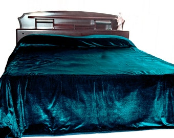 Luxury teal velvet bedcover, Couture bed linen in luxe velvet, Custom Size, King bedspread, Queen Size, Teal bedspread, Velvet bedding, Twin