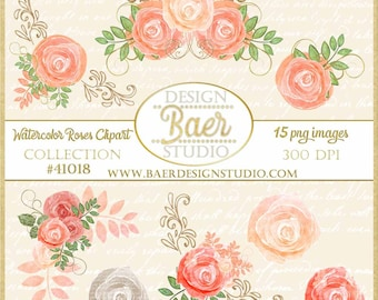 Rose Clipart:Floral Clipart, Planner Clipart, Shabby Chic Clipart, Paper Flowers Clipart, Pink Roses Clipart, Peach Wedding Clipart, #41018