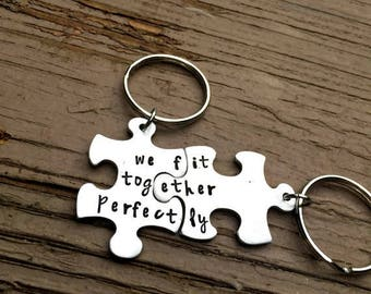 Puzzle Piece Key chains, Anniversary Gift, Couple Key Chains, Birthday Gifts, BFF, boyfriend Present, Couple Jewelry, Best Friend gift
