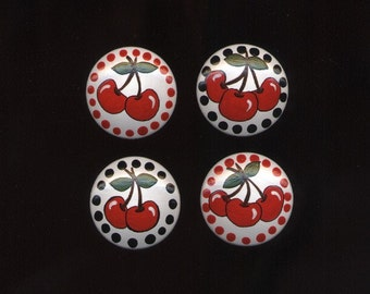 RED CHERRIES - Hand Painted Wooden Knobs/Pulls - Set of 8 - Great for Little Girl's Room, Nursery, Kitchen or Office
