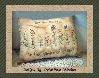 Garden Of Life--Primitive Stitchery E-PATTERN-by Primitive Stitches-Instant Download