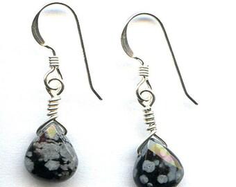 Snowflake Obsidian Faceted Teardrop Sterling Silver Earrings