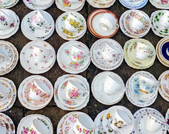 Job Lot of 10 (30pcs) Vintage Mismatched China Mix Tea Cups Saucers Side Plates Trios Set Floral - Tableware for Mad Hatters Party Wedding