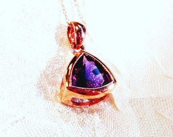 Amethyst Trillion Necklace in Rose Gold, Handmade Jewelry by NorthCoastCottage Jewelry Design & Vintage Treasures