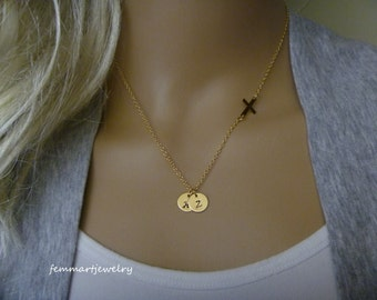 Initial Necklace - Sideways Cross Two Initial Disc - Gold - Personalized - Faith Charm - Mommy Necklace - Mother of the Bride