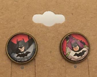 Recycled Comic Book inspired earrings Batman vintage retro