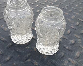 Vintage Pressed Pinwheel Hobstar Glass Salt and Pepper Shaker Marked Imperial Pre 1972
