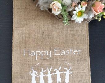 Easter table runner, Easter bunny, burlap runner, happy Easter runner, easter linen, spring table,printed burlap easter runner