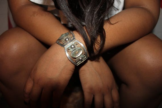 """Vintage  Sterling Silver Mexico Panel Abalone Shell Bracelet  7"""" Long 2. 1/2"""" Wide Heavy 43 grams Sterling Mexico, Hecho en Taxco Eagle"""