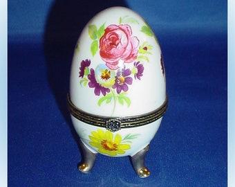 Porcelain Egg Vintage Trinket Box with Flower Motif