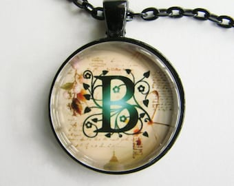 """Initial """"B"""" Necklace -- Green Vine pattern Personalized Letter B Necklace, Wedding Necklace, for Bridesmaid, Hen Night, Friendship token"""