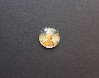 Cabochons 25 mm glass Christmas tree gold