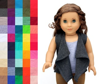Fits like American Girl Doll Clothes - Cascade Cardigan Vest, You Choose Color | 18 Inch Doll Clothes