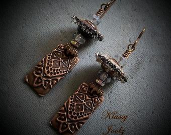 Copper PMC Charms-Faceted Crystals-Glass Lampwork Beaded Earrings-Artisan Earrings-Organic-Victorian-Tribal-Bohemian Vibe-Earrings-SRAJD