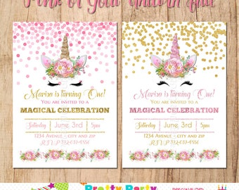 Pink or Gold UNICORN FACE invitation - You Print