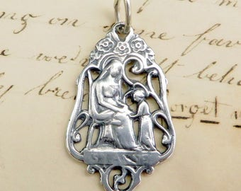 St Anne Filigree Medal - Patron of mothers, grandmothers & housewives - Sterling Silver Antique Replica