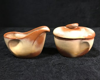 1953 Frankoma Pottery Desert Gold 8 Ounce Creamer & Sugar Bowl