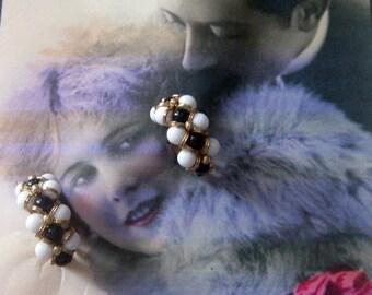 Vintage Beaded Hoop Clip Earrings