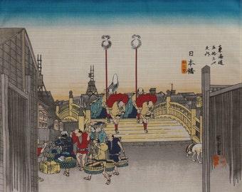 Furoshiki 'Tokyo Nihonbashi' by Hiroshige Cotton Japanese Fabric Square w/Free Insured Shipping